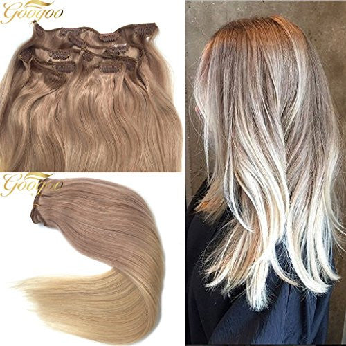 Googoo 120 Gram 9 Pieces Thick Remy Human Hair Clip In Doubled Weft Extensions Ombre