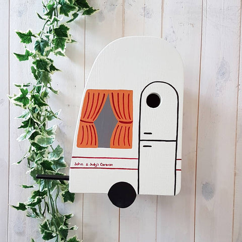 Personalised Caravan Bird Box - Lindleywood