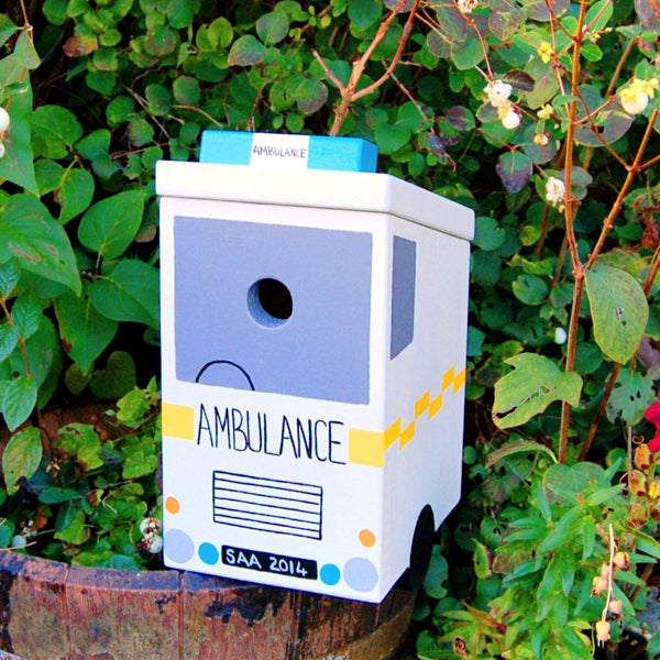 Personalised Ambulance Bird Box - Lindleywood
