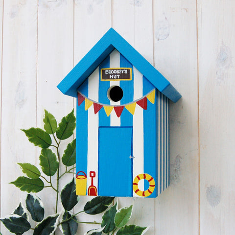 Beach Hut Bird Box - Bright Blue