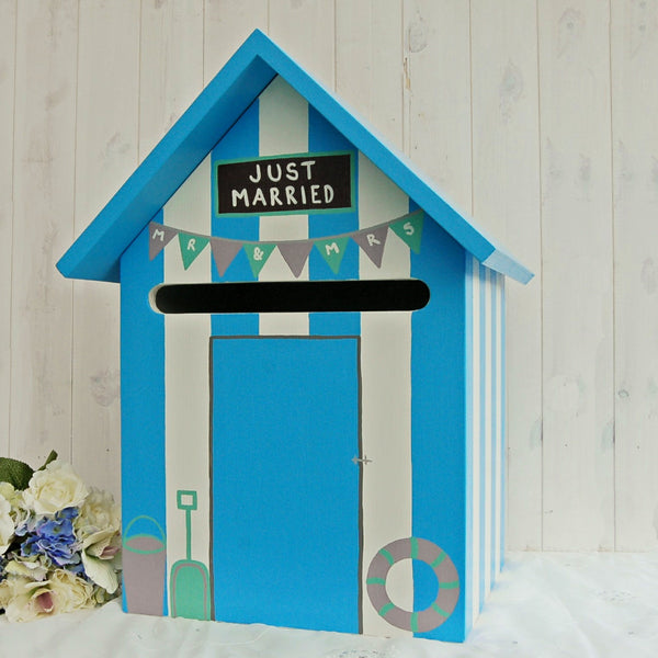 Beach Hut Wedding Post Box - Grace White and Beach Hut Blue