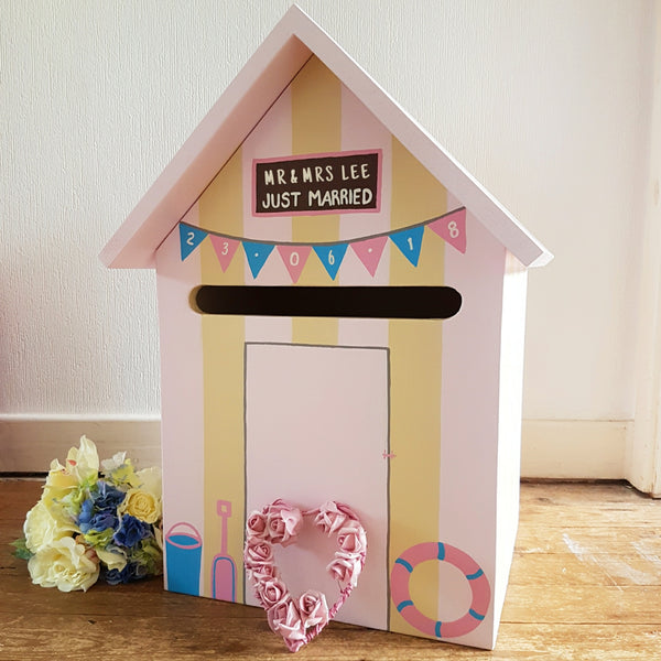 Beach Hut Personalised Wedding Post Box - Lindleywood