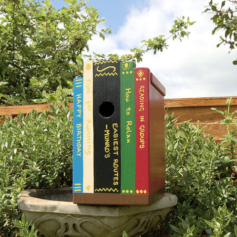 Personalised Books on a Shelf Bird Box - Lindleywood