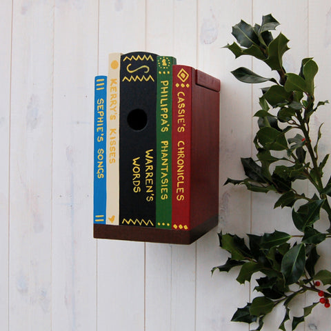 Books on a Shelf Bird Box