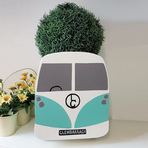 Campervan Split Screen Plant Holder - Grace White and Turquoise Blue