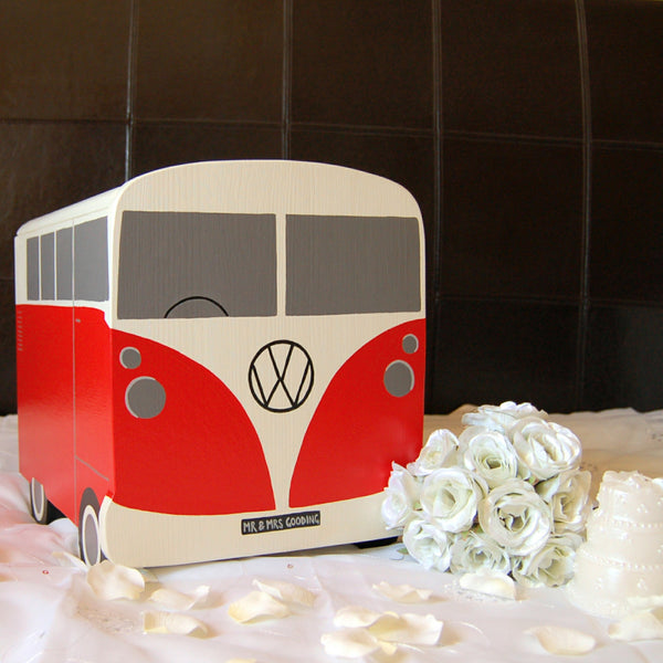 Campervan Wedding Post Box -Grace White and Atomic Red
