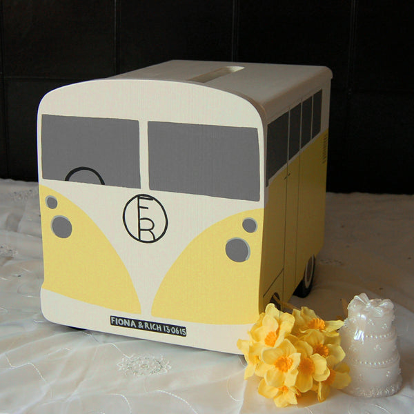 Campervn Wedding Post Box - Grace White and Mr David Yellow