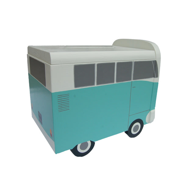 Campervan Wedding Post Box Side View - Grace White and Turquoise Blue