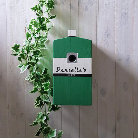 Personalised Gin Bottle Bird Box - Lindleywood