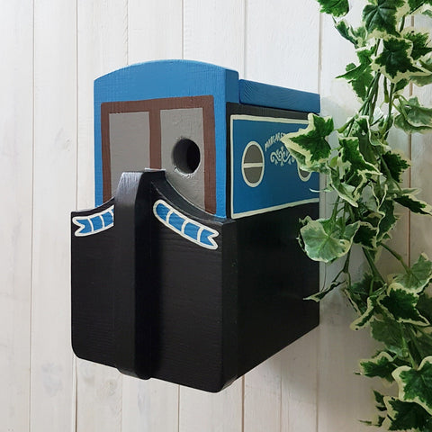 Narrowboat Canal Boat Bird Box - Bright Blue