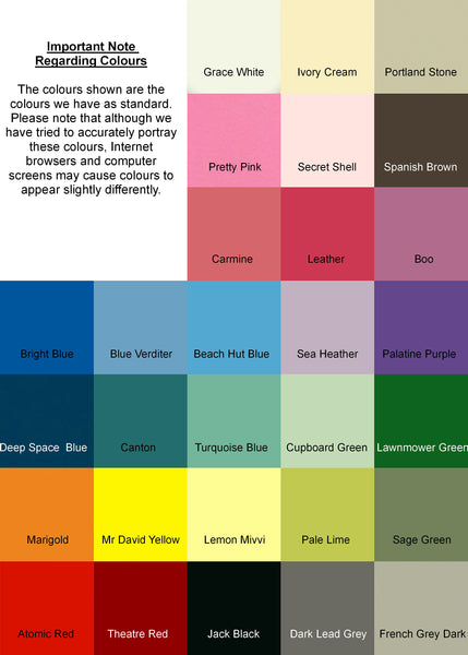 Lindleywood Paint Colour Chart