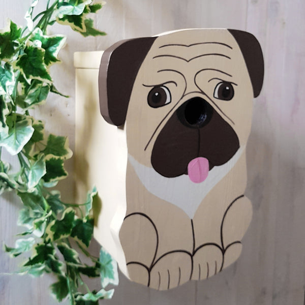Handcrafted Pug Dog Bird Box - Lindleywood