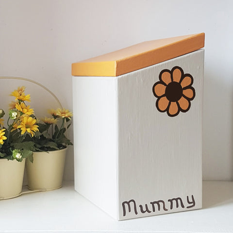 Retro Flower Keepsake Box - Portland Stone and Marigold