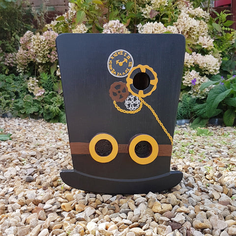 Handcrafted Steampunk Top Hat Bird Box - Lindleywood