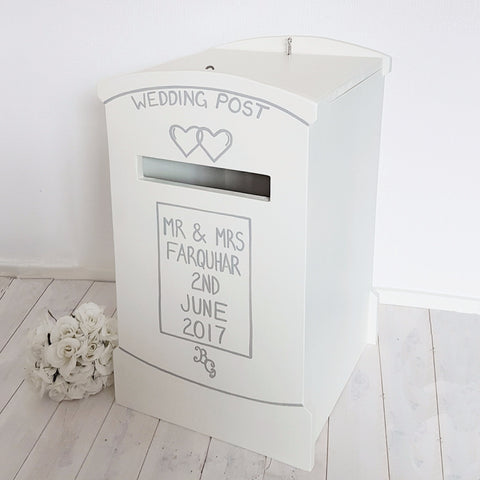 Locking Post Box Wedding Post Box - Grace White and French Grey Dark