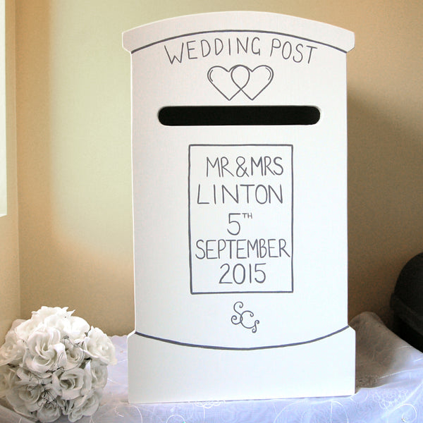 Post Box Wedding Post Box - Grace White and French Grey Dark