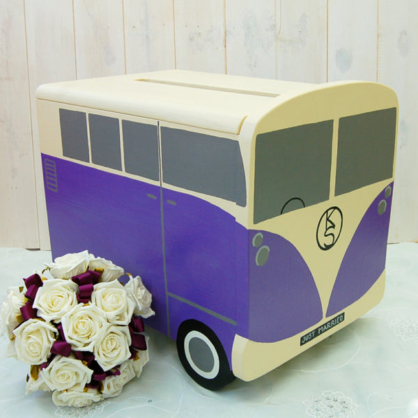 Campervan Wedding Post Box - Ivory and Palatine Purple