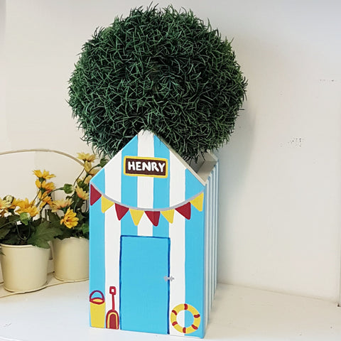 Beach Hut Plant Holder - Beach Hut Blue