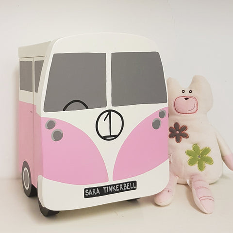 Lindleywood Campervan Keepsake Box - Grace White and Pretty Pink