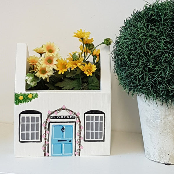 Cottage Plant Holder - Grace White with Blue Door