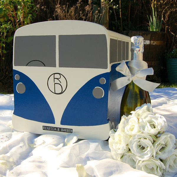 Campervan Wedding Post Box - Grace White and Deep Space Blue