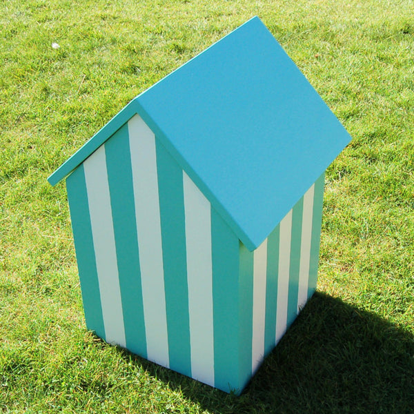 Beach Hut Wedding Post Box - Grace White and Turquoise Blue