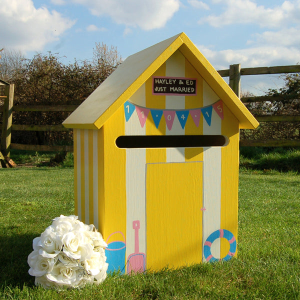 Beach Hut Wedding Post Box - Grace White and Mr David Yellow