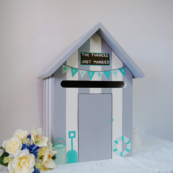 Beach Hut Weding Post Box - Grace White and French Grey Dark