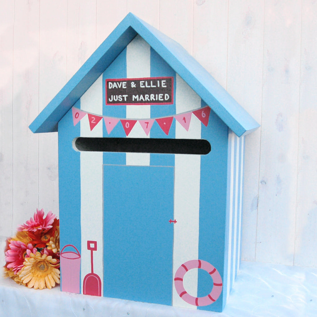 Beach Hut Wedding Post Box - Grace White and Bright Blue