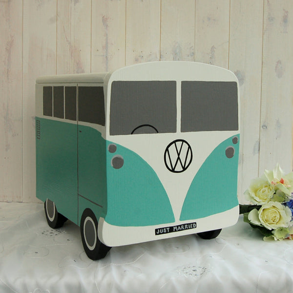 Campervan Wedding Post Box - Grace White and Turquoise Blue