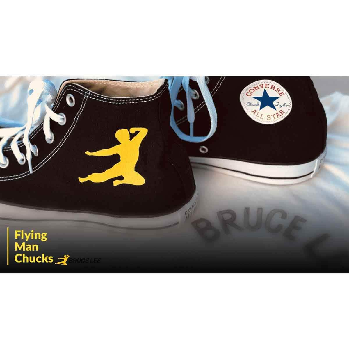 29c995f6908ab7 Bruce lee official flying man converse chuck taylor all star high top  sneakers jpg 1200x1200 Bruce
