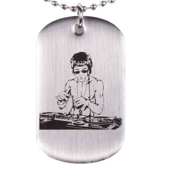 Lasting Impressions of Nashville Jewelry DJ Dragon Brushed Silver Dog Tag