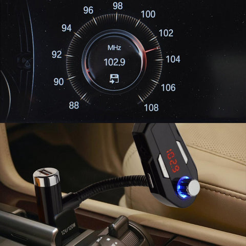 Bluetooth FM Transmitter Radio Car Kit,Geekee Hands Free Calling & Music  Control 5V/2 4A Max Dual USB Charger for iPhone 6/5 iPod iPad Galaxy S6 MP3