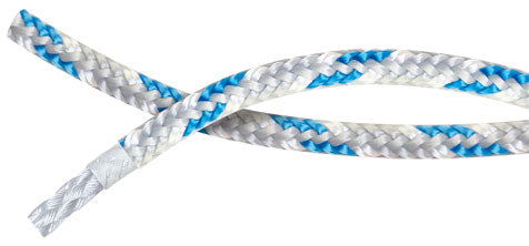 braided racing rope with Dyneema® braided heat set core and polyester staple cover