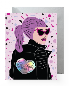 Lilac Birthday Babe Sticker Card