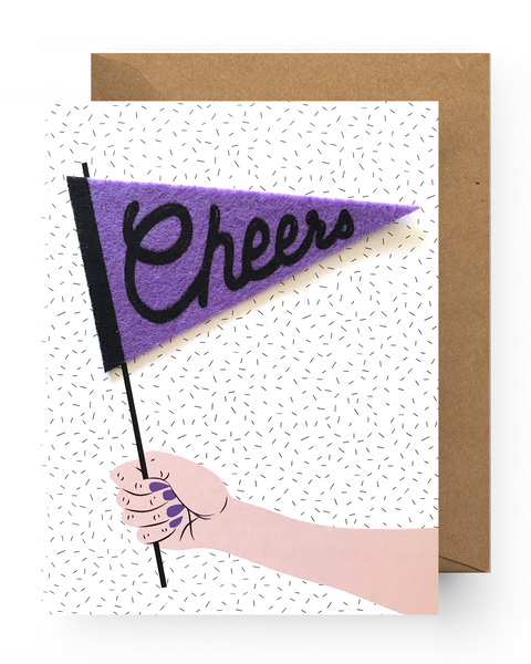 Cheers Pennant Sticker Card