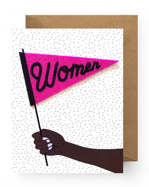Women Pennant Sticker Card