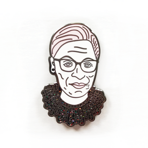 Ruth Bader Ginsburg Dissent Collar Glitter Enamel Pin
