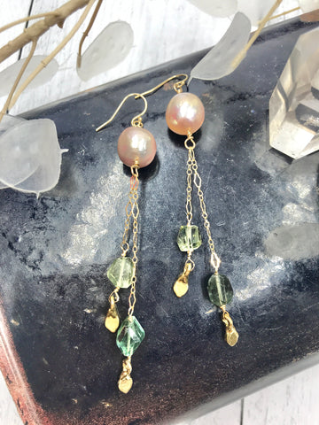 Baroque pearl and Tourmaline Earrings - Earth Sage Jewelry