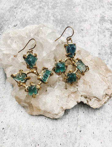 Tourmaline cluster earrings - Earth Sage Jewelry
