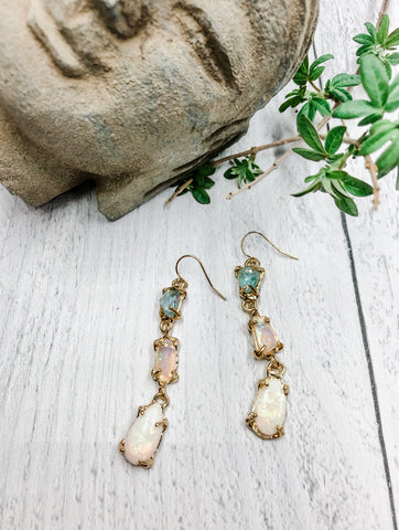 Aquamarine, Ethiopian Opal, and Sterling Opal Earrings - Earth Sage Jewelry