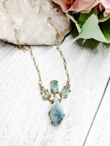 Boulder opal and blue tourmaline crown pendant - Earth Sage Jewelry