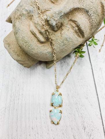 Double Sterling Opal Necklace - Earth Sage Jewelry