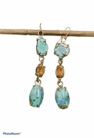 Lavender Turquoise and Imperial Topaz earrings