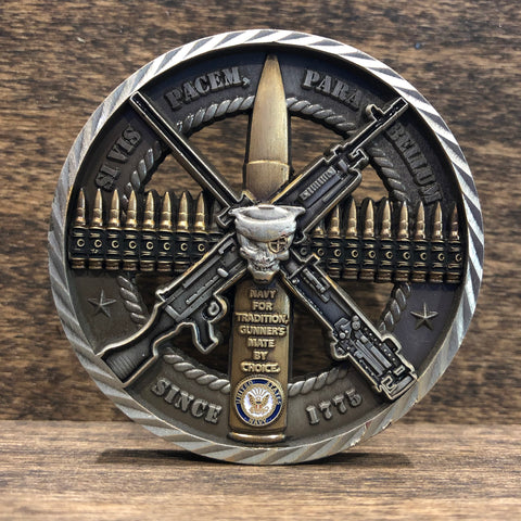 GUNNER'S MATE 0814 CREW SERVED WEAPONS CHALLENGE COIN