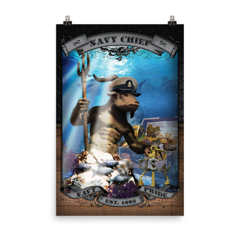 Navy Chief King Neptune Challenge Coin Poster