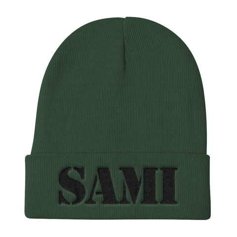 SAMI (0812) Knit Beanie (Black Embroidery)