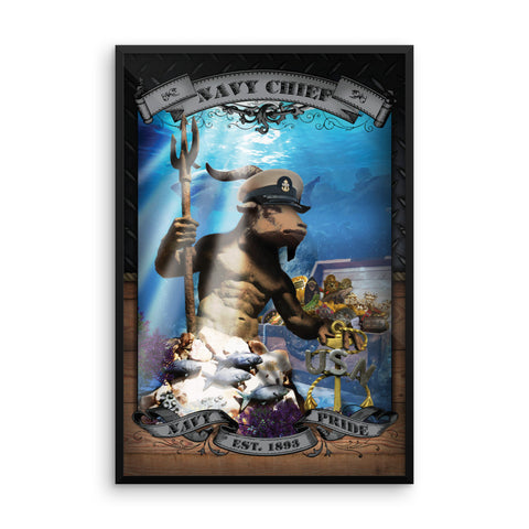Navy Chief King Neptune Challenge Coin Poster (Framed Photo Paper)
