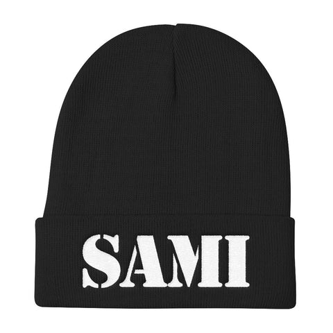 SAMI (0812) Knit Beanie (White Embroidery)