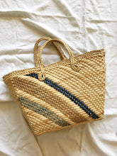 Vintage Blue Striped Raffia Basket